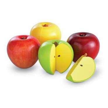 zestaw jako pomoc dydaktyczna do nauki ułamków w formie jabłka