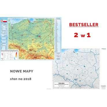 DUO Polska fizyczna z elementami ekologii / mapa hipsometryczna - mapa ścienna