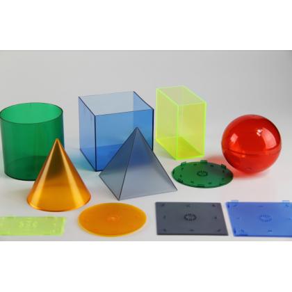 Zestaw 6 kolorowych brył transparentnych
